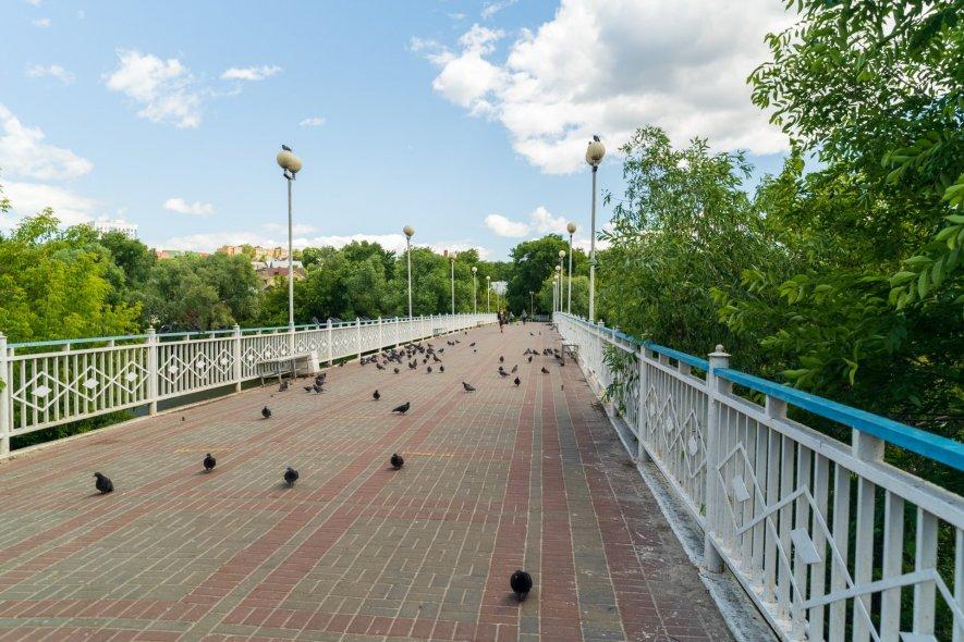 Пешеходный мост через реку Свиягу